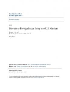 Barriers to Foreign Issuer Entry into U.S. Markets