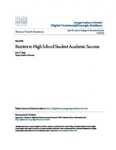 Barriers to High School Student Academic Success