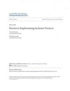 Barriers to Implementing Inclusion Practices
