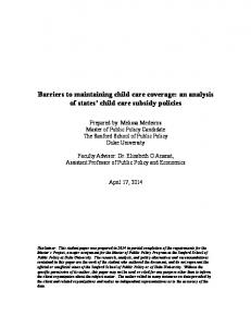 Barriers to maintaining child care coverage: an analysis of states child care subsidy policies