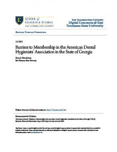 Barriers to Membership in the American Dental Hygienists Association in the State of Georgia