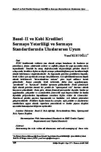 Basel II ve Kobi Kredileri Sermaye Yeterliliği ve Sermaye Standartlarında Uluslararası Uyum