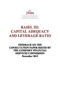 BASEL III: CAPITAL ADEQUACY AND LEVERAGE RATIO