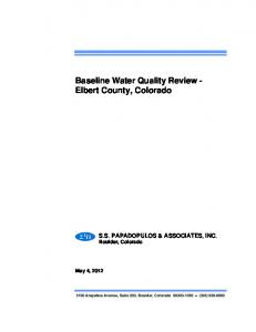 Baseline Water Quality Review - Elbert County, Colorado