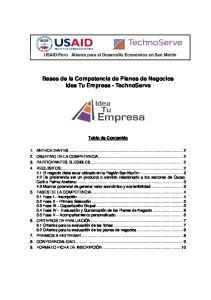 Bases de la Competencia de Planes de Negocios Idea Tu Empresa - TechnoServe