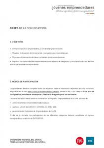 BASES DE LA CONVOCATORIA