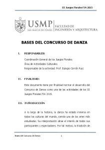 BASES DEL CONCURSO DE DANZA