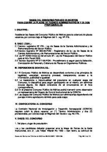 BASES DEL CONCURSO PUBLICO DE MERITOS PARA CUBRIR LA PLAZAS DE TECNICO ADMINISTRATIVO III Y DE DOS PROFESIONALES