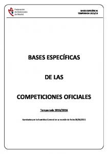 BASES ESPECÍFICAS DE LAS COMPETICIONES OFICIALES