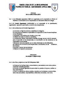 BASES LEGALES DE LA XIII OLIMPIADAS PADRES DE FAMILIA SAN IGNACIO LOYOLA 2009