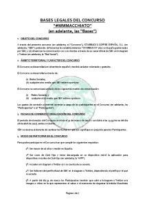 BASES LEGALES DEL CONCURSO #MMMACCHIATO (en adelante, las Bases )