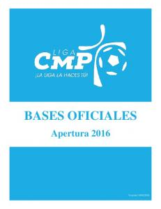 BASES OFICIALES. Apertura 2016