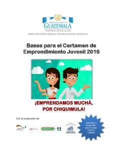 Bases para el Certamen de Emprendimiento Juvenil 2016
