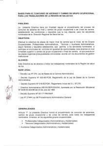 BASES PARA EL CONCURSO DE ASCENSO Y CAMBIO DE GRUPO OCUPACIONAL PARA LOS TRABAJADORES DE LA REGION DE SALUD ICA