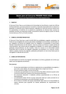 Bases para el Concurso PRIMER PASO 2016 Concurso de Emprendimiento de la Universidad de Lima