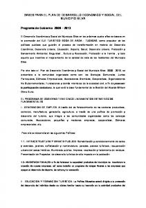 BASES PARA EL PLAN DE DESARROLLO ECONOMICO Y SOCIAL DEL MUNICIPIO SILVA