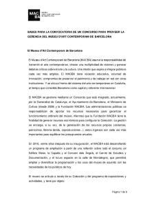 BASES PARA LA CONVOCATORIA DE UN CONCURSO PARA PROVEER LA GERENCIA DEL MUSEU D ART CONTEMPORANI DE BARCELONA