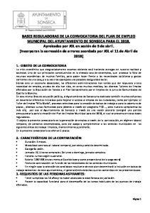 BASES REGULADORAS DE LA CONVOCATORIA DEL PLAN DE EMPLEO MUNICIPAL DEL AYUNTAMIENTO DE SONSECA PARA EL