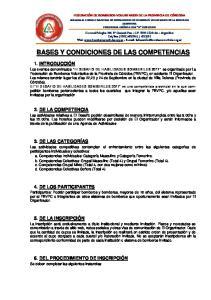 BASES Y CONDICIONES DE LAS COMPETENCIAS