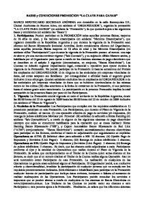 BASES y CONDICIONES PROMOCION LA CLAVE PARA GANAR