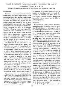 BASES Y METODOS PARA EVALUAR LOS PROGRAMAS DE SALUD*
