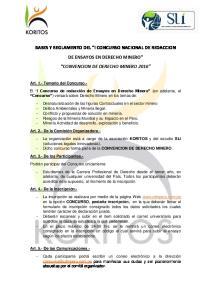 BASES Y REGLAMENTO DEL I CONCURSO NACIONAL DE REDACCION DE ENSAYOS EN DERECHO MINERO CONVENCION DE DERECHO MINERO 2016