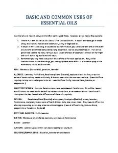 BASIC AND COMMON USES OF ESSENTIAL OILS