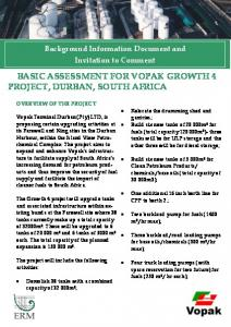 BASIC ASSESSMENT FOR VOPAK GROWTH 4 PROJECT, DURBAN, SOUTH AFRICA