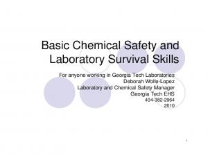 Basic Chemical Safety and Laboratory Survival Skills