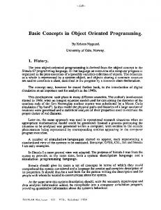 Basic Concepts in Object Oriented Programming