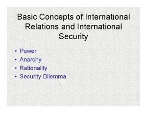 Basic Concepts of International Relations and International Security. Power Anarchy Rationality Security Dilemma