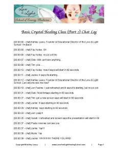 Basic Crystal Healing Class (Part 2) Chat Log