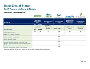 Basic Dental Plans: 2016 Features & Benefit Details. Small Business Family and Adult plans. Massachusetts Family Basic Dental Plan