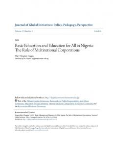 Basic Education and Education for All in Nigeria: The Role of Multinational Corporations