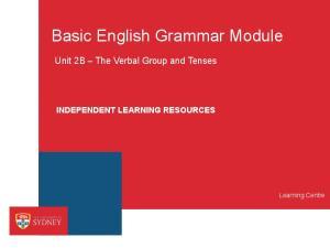Basic English Grammar Module