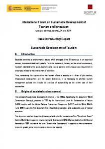Basic Introductory Report. Sustainable Development of Tourism