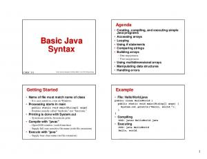 Basic Java Syntax. Agenda. Getting Started. Example