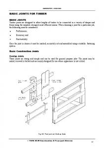 BASIC JOINTS FOR TIMBER