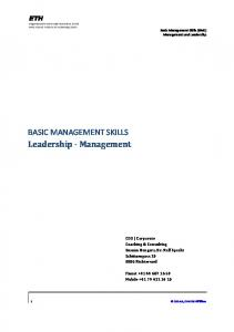 BASIC MANAGEMENT SKILLS Leadership Management