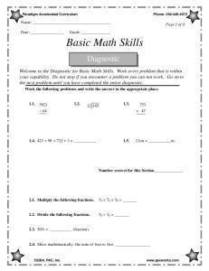 Basic Math Skills. Diagnostic