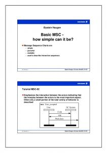 Basic MSC - how simple can it be?