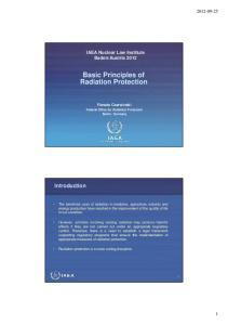 Basic Principles of Radiation Protection