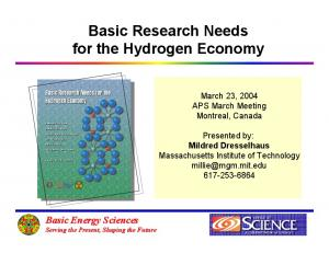 Basic Research Needs for the Hydrogen Economy