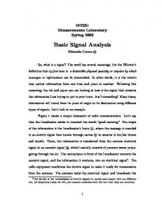 Basic Signal Analysis