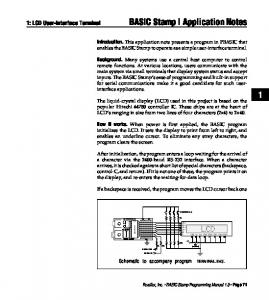 BASIC Stamp I Application Notes