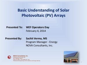 Basic Understanding of Solar Photovoltaic (PV) Arrays