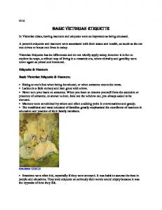 Basic Victorian Etiquette