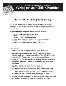 Basics for Handling Food Safely