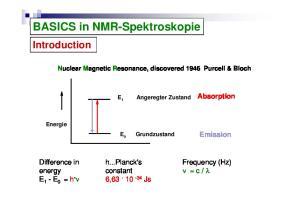 BASICS in NMR-Spektroskopie