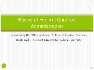 Basics of Federal Contract Administration